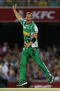 Shane Warne celebrates a wicket, Brisbane Heat v Melbourne Stars, BBL, Brisbane, December 20, 2011