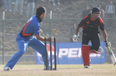 Game over - Nadeem Ahmed's run-out spelled the end for Hong Kong against Afghanistan in the ACC Twenty20 Cup 2011 final in Kathmandu on 11th December 2011