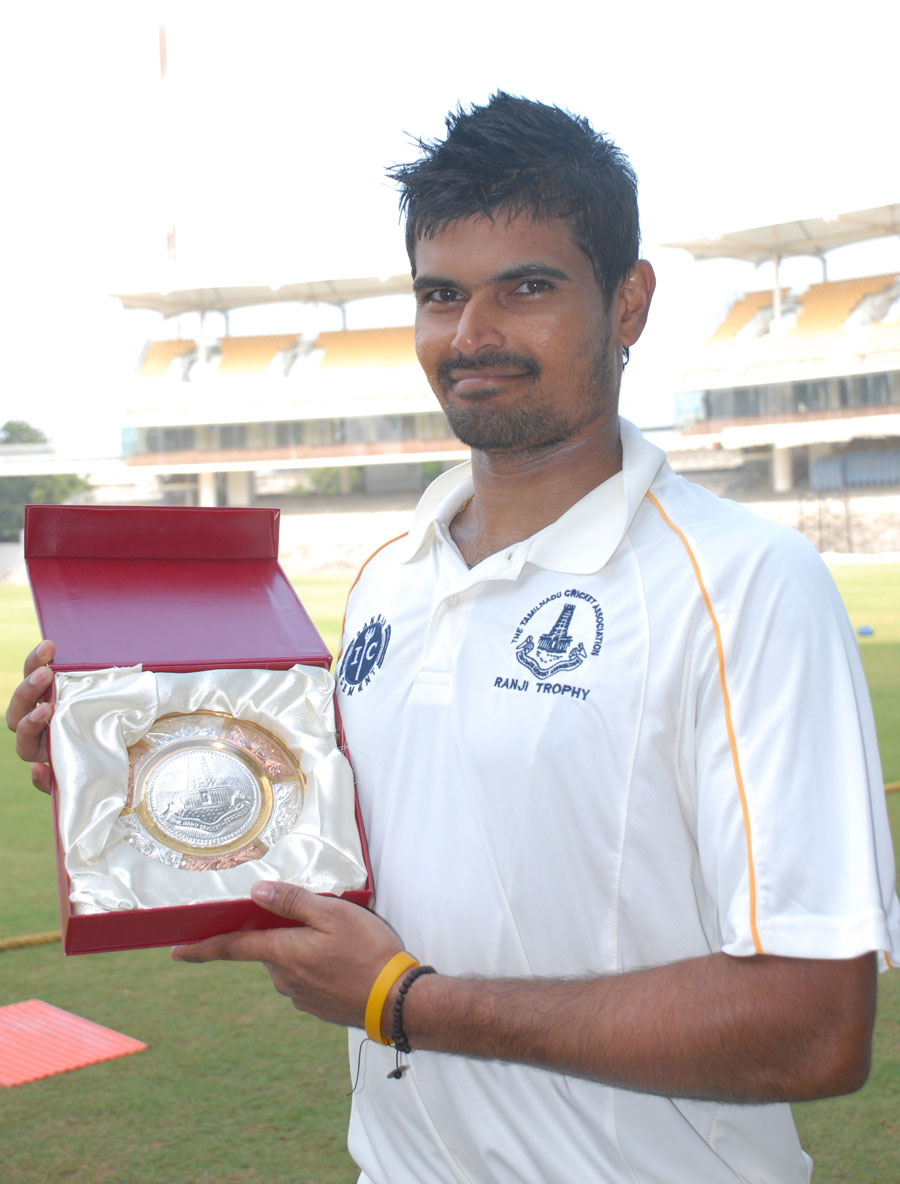 S Badrinath is felicitated on the occasion of his 100th first-class match
