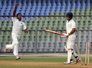 Kshemal Waingankar celebrates after bowling Amitoze Singh, Mumbai v Punjab, Ranji Trophy Elite, Mumbai, 3rd day, December 23, 2011
