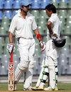Mayank Sidhana and Uday Kaul have a chat during their stand of 124, Mumbai v Punjab, Ranji Trophy Elite, Mumbai, 3rd day, December 23, 2011