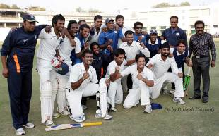 Hyderabad celebrate their qualification in to the knockouts of the Ranji Trophy after a tense draw against Vidarbha