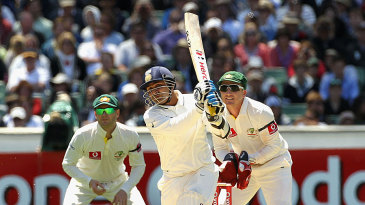 Virender Sehwag lofts one down the ground