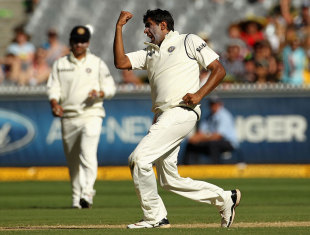 R Ashwin is pumped up after trapping Nathan Lyon lbw, Australia v India, 1st Test, Melbourne, 3rd day, December 28, 2011