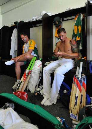Dale Steyn and Jacques Kallis share a light moment in the dressing room, South Africa v Sri Lanka, 2nd Test, Durban, 4th day, December 29, 2011