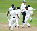 Sri Lanka's players celebrate their maiden Test win in South Africa, South Africa v Sri Lanka, 2nd Test, Durban, 4th day, December 29, 2011