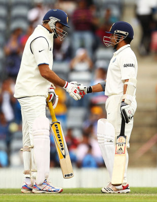 VVS Laxman has a chat with Sachin Tendulkar, Cricket Australia Chairman's XI v Indians, Canberra, 2nd day, December 16, 2011