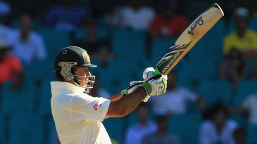 Ricky Ponting pulls during an innings that steadied a wobbly Australia