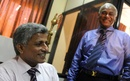 Nishantha Ranatunga, the Sri Lanka Cricket secretary, with Upali Dharmadasa, the new SLC president, Colombo, January 3, 2012