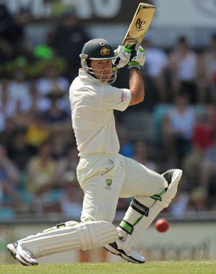 Ricky Ponting leans in to a drive, Australia v India, 2nd Test, Sydney, 2nd day, January 4, 2012