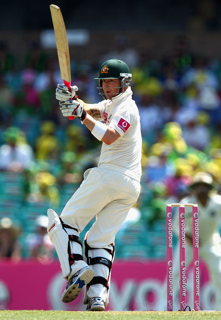 Michael Clarke swivels into a pull