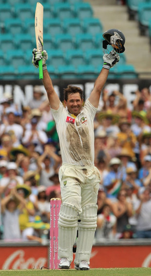 After getting to his hundred, Ricky Ponting was the picture of a man who had fought and overcome