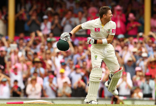 Michael Clarke is ecstatic after completing his triple, Australia v India, 2nd Test, Sydney, 3rd day, January 5, 2012