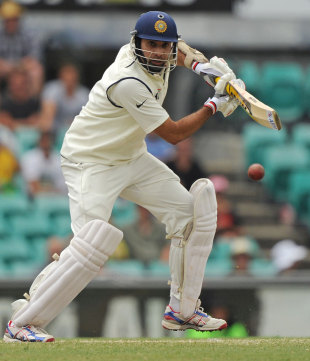 VVS Laxman looks to pierce the off-side field, Australia v India, 2nd Test, Sydney, 4th day, January 6, 2012