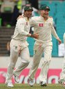 Ricky Ponting and Michael Clarke celebrate winning the New Year's Test, Australia v India, 2nd Test, Sydney, 4th day, January 6, 2012