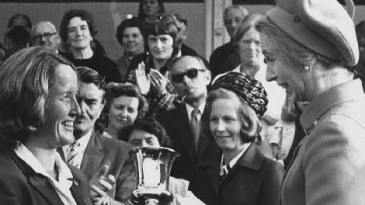 Rachael Heyhoe-Flint receives the World Cup from Princess Anne