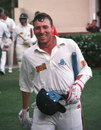 Mike Atherton celebrates saving the match after scoring an unbeaten 185, South Africa v England, 2nd Test, Johannesburg, 5th day, December 4, 1995