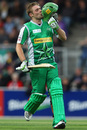 Luke Wright kisses his Melbourne Stars helmet after reaching his hundred, Hobart Hurricanes v Melbourne Stars, BBL, Hobart, January 9, 2012