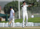 Mohammad Talha removed Jonathan Trott for a duck, Pakistan Cricket Board XI v England XI, Tour match, 1st day, Dubai, January 11, 2012