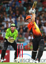 Mitchell Marsh lofts on his way to an unbeaten 64, Sydney Thunder v Perth Scorchers, BBL, Sydney, January 11, 2012