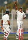 Harshal Patel signals the end of Robin Bist, Haryana v Rajasthan, 1st semi-final, Ranji Trophy 2011-12, Lahli, 2nd day, January 11, 2012