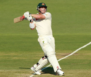 David Warner plays a pull shot, Australia v India, 3rd Test, Perth, 1st day, January 13, 2012
