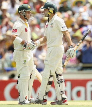 David Warner and Ed Cowan added 214 for the first wicket, Australia v India, 3rd Test, Perth, 2nd day, January 14, 2012