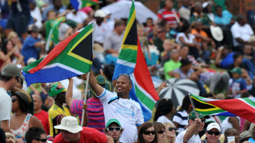 Fans wave South African flags at Buffalo Park