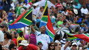 Fans wave South African flags at Buffalo Park, South Africa v Sri Lanka, 2nd ODI, East London, January 14, 2012
