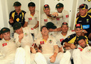 It pours for David Warner in a jubilant Australia dressing room, Australia v India, 3rd Test, Perth, 3rd day, January 15, 2012