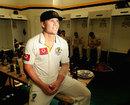 David Warner relaxes in the dressing-room after the Perth Test, Australia v India, 3rd Test, Perth, 3rd day, January 15, 2012