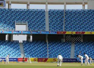 The Test began in front of largely empty stands, Pakistan v England, 1st Test, Dubai, 1st day, January 17, 2012