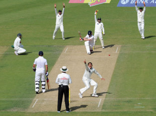Saeed Ajmal traps Eoin Morgan lbw, Pakistan v England, 1st Test, Dubai, 1st day, January 17, 2012