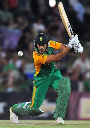 Faf du Plessis plays a cover drive, South Africa v Sri Lanka, 3rd ODI, Bloemfontein, January 17, 2012