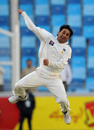 Saeed Ajmail was delirious with his 10 wickets in the match, helping Pakistan to a big victory, Pakistan v England, 1st Test, Dubai, 3rd day, January 19, 2012