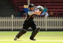 Debutant Katie Perkins drives through the off side, Australia v New Zealand, 1st Women's T20, North Sydney Oval, January 20, 2012