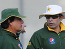 Mohsin Khan has a chat with Misbah-ul-Haq during a training session