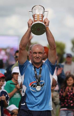 Gareth Hopkins holds aloft the HRV Cup, Auckland Aces v Canterbury, HRV Cup final, Auckland, January 22, 2012
