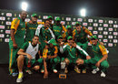 South Africa celebrate with the series' trophy