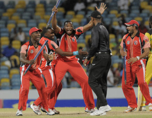 Trinidad & Tobago celebrate their victory, Jamaica v Trinidad & Tobago, final, Caribbean T20 2011-12, Bridgetown, January 22, 2012