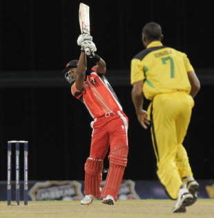 Dwayne Bravo carves one through the off side, Jamaica v Trinidad & Tobago, final, Caribbean T20 2011-12, Bridgetown, January 22, 2012