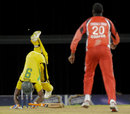 Andre Russell gets in a tangle facing Kevon Cooper