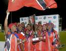 Trinidad & Tobago's players pose with the Caribbean T20 trophy, Jamaica v Trinidad & Tobago, final, Caribbean T20 2011-12, Bridgetown, January 22, 2012