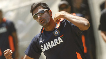 R Ashwin at a training session