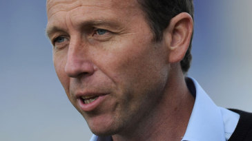 Michael Atherton observing England training