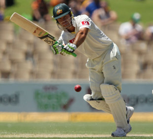 Ricky Ponting clips the ball to the leg side, Australia v India, 4th Test, Adelaide, 2nd day, January 25, 2012