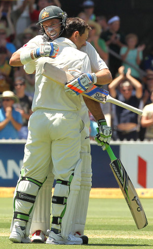 Ricky Ponting gets a hug from Michael Hussey after getting to 200, Australia v India, 4th Test, Adelaide, 2nd day, January 25, 2012