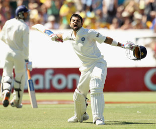 Virat Kohli is pumped up after getting to his maiden Test ton, Australia v India, 4th Test, Adelaide, 3rd day, January 26, 2012