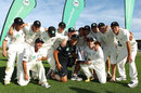 The New Zealand team with the trophy, New Zealand v Zimbabwe, Only Test, Napier, 3rd day, January 28, 2012