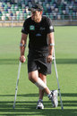 Ross Taylor had picked up a calf injury during the Test, New Zealand v Zimbabwe, Only Test, Napier, 3rd day, January 28, 2012